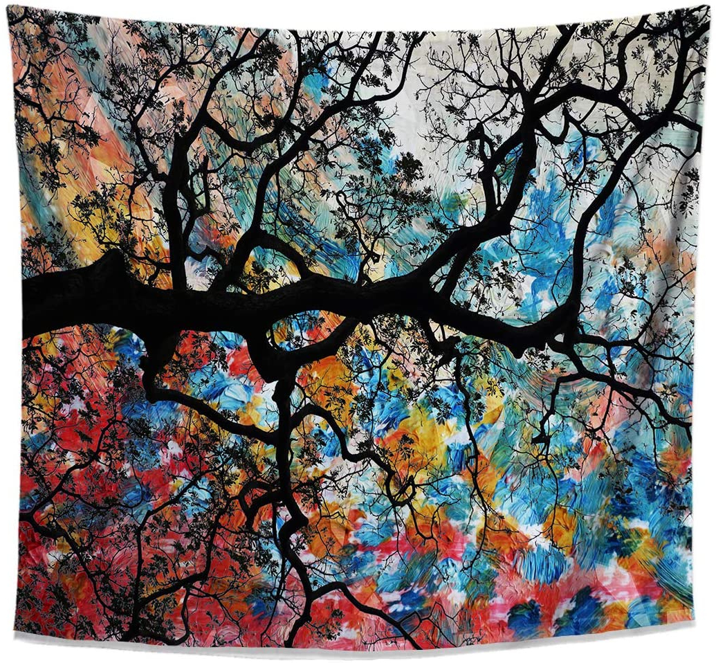 Famous Blended Fabric Pastel Tree Of Life Wall Hangings Intended For Zen Forest Tapestry, Chi Tree Design, Colorful Japanese Cherry Blossom Tree Wall Hanging For Bedroom Living Room Dorm, 58x51 Inches (View 13 of 20)