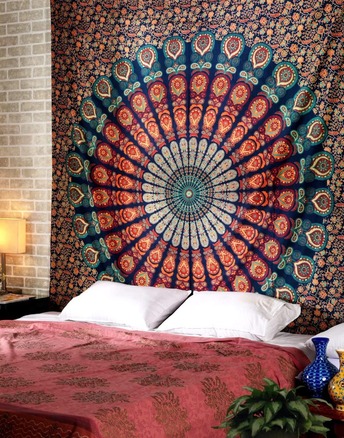 Famous Blended Fabric Peacock European Tapestries For Peacock Mandala Tapestry – Hippie Queen Size Wall Hanging 90x84 Inch Decorative Trippy Tapestries Bohemian Boho Bedding Indian Handmade Pure Cotton (View 5 of 20)