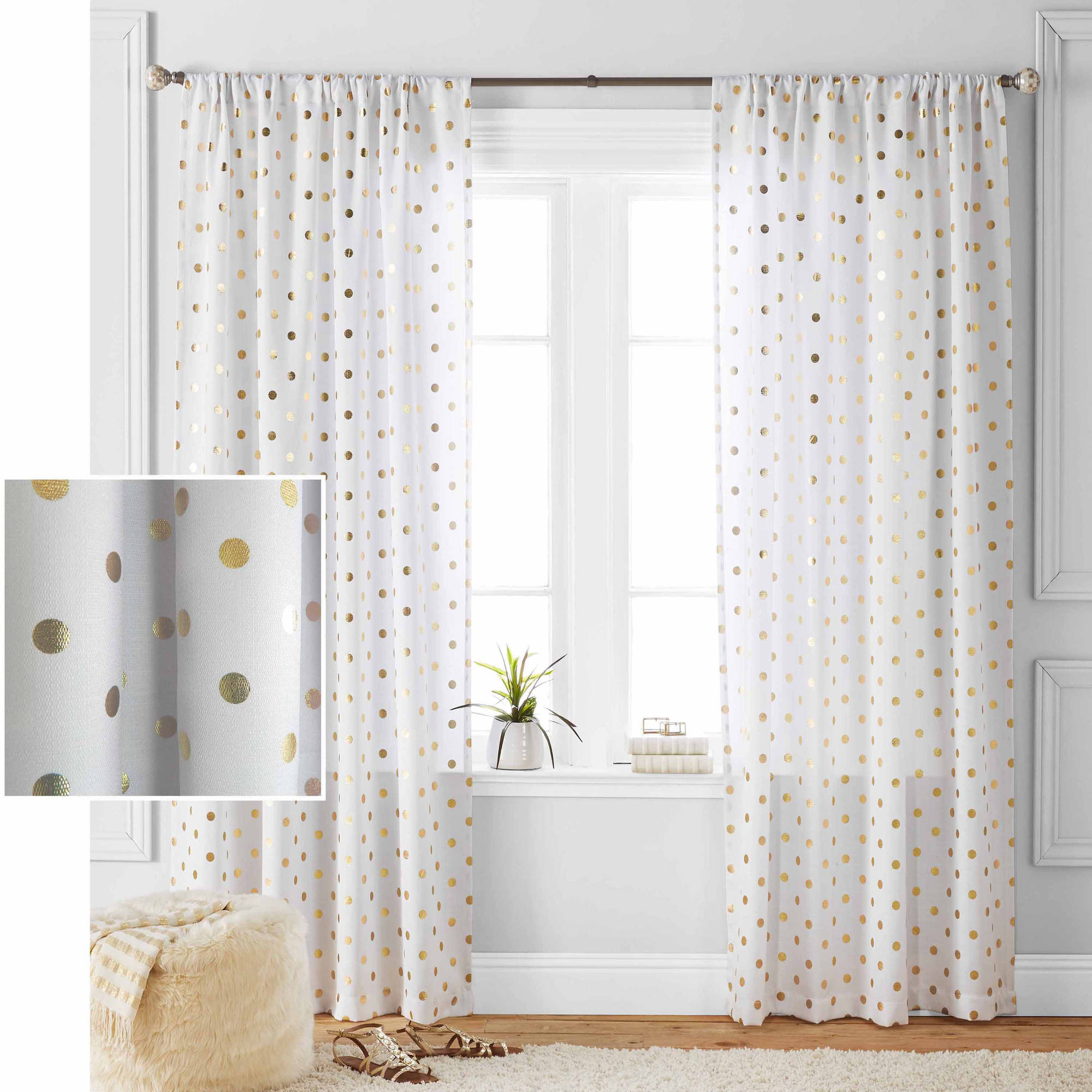 Famous Blended Fabric The Road Rises Wall Panel With Topper Tapestries And Wall Hangings Inside Better Homes And Gardens Metallic Polka Dots Single Window Panel (View 8 of 20)
