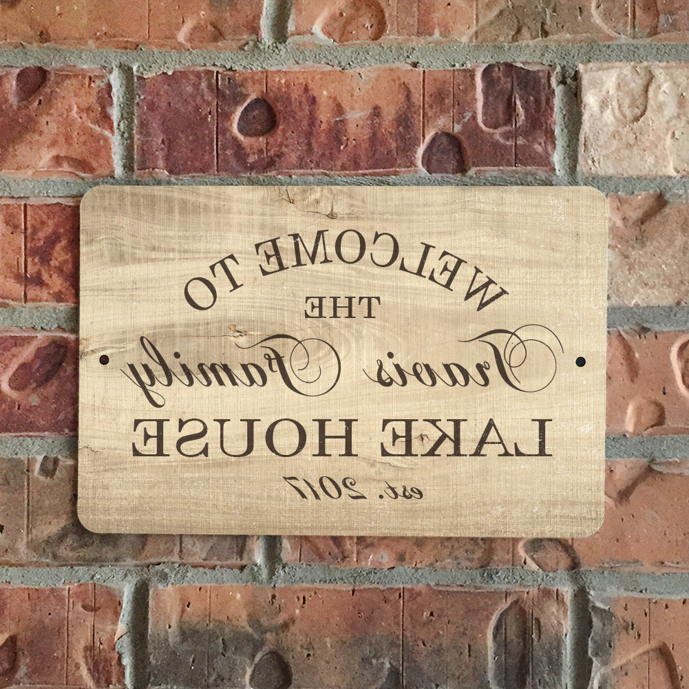 Famous Bushra Personalized Wood Grain Look Lake House Metal Sign Wall Décor Intended For Family Wood Wall Décor By Highland Dunes (View 3 of 20)