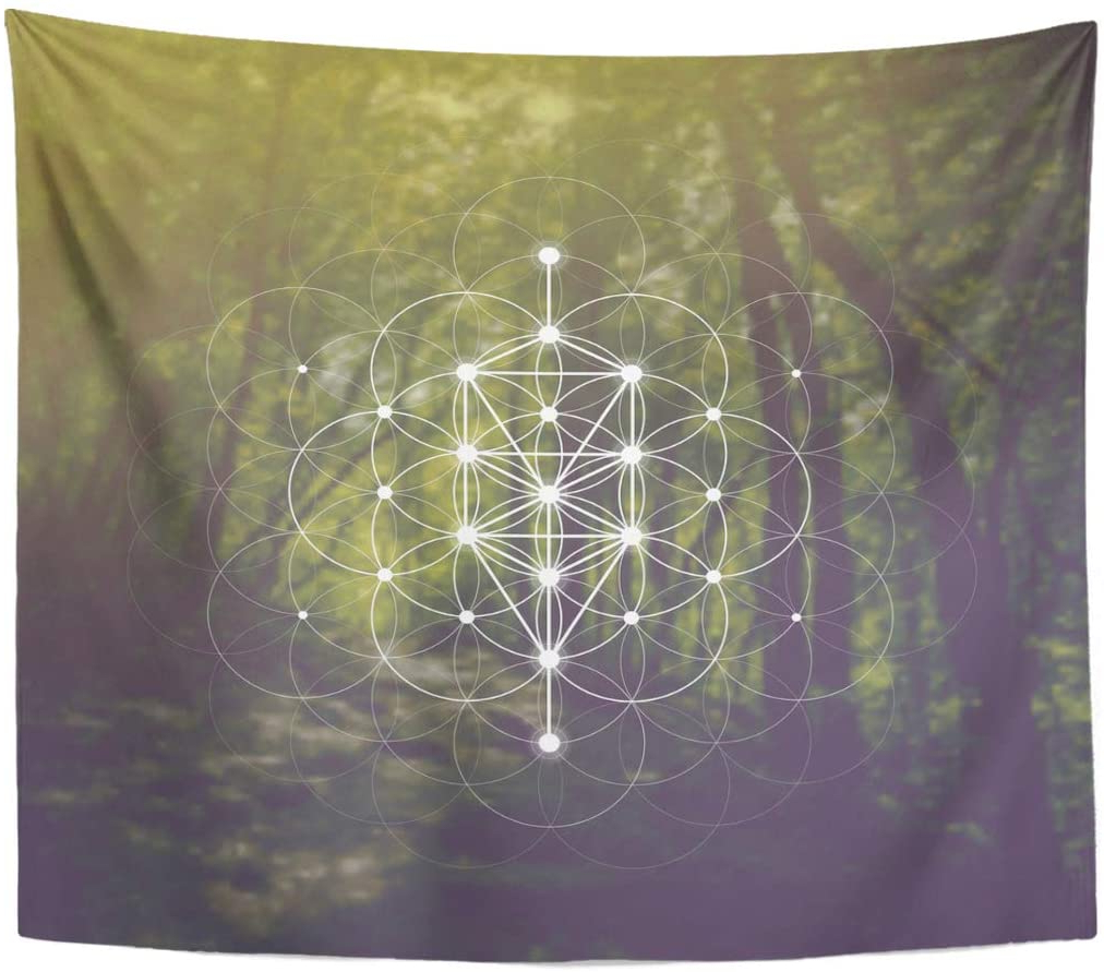 Famous Emvency Tapestry Chakra Tree Of Life Geometry Kabbalah In Front Interlocking Circles Pattern And Blurry Home Decor Wall Hanging For Living Room Inside Blended Fabric Pastel Tree Of Life Wall Hangings (View 9 of 20)