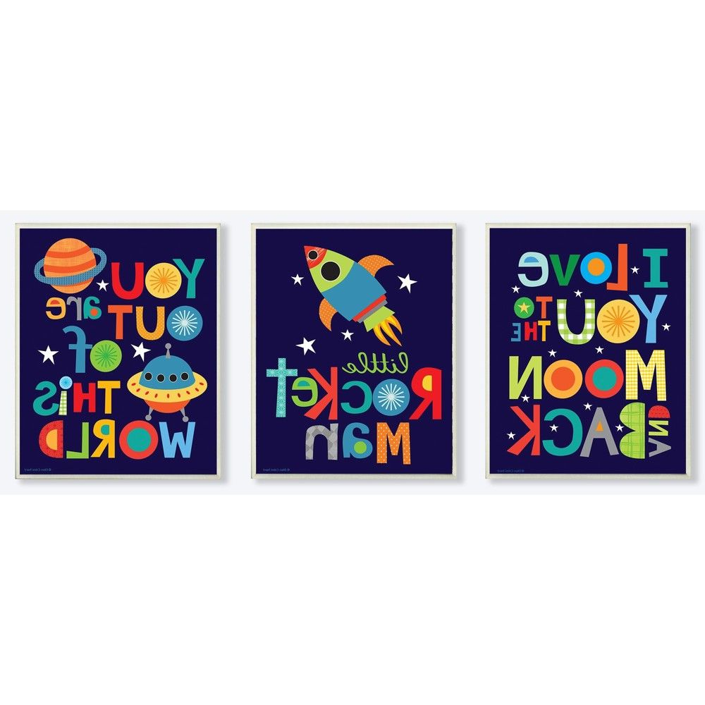 Famous I Love You More Rectangle Textual Art Pertaining To I Love You To The Moon And Back Textual Art 3pc Wall Plaque (View 6 of 20)