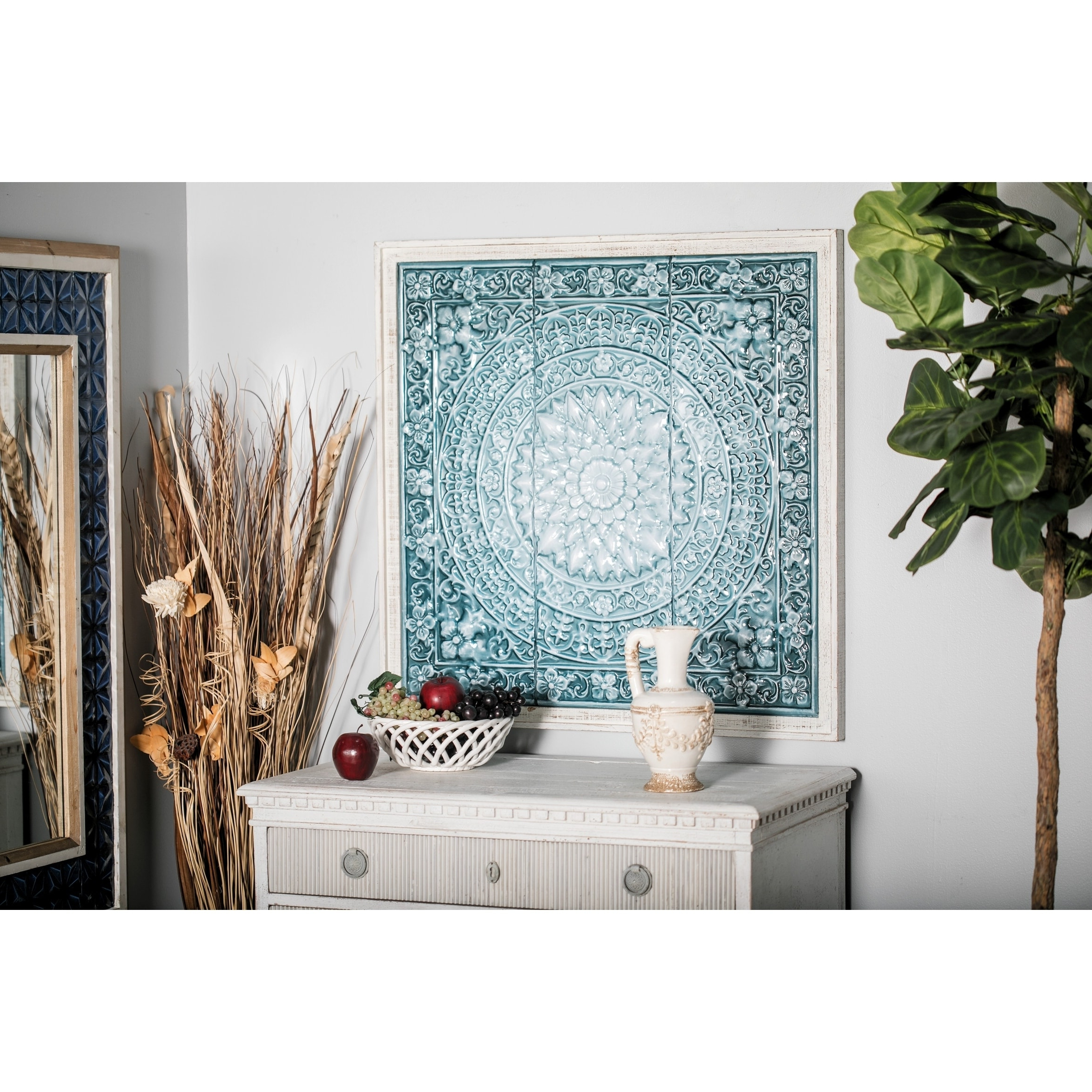 Famous Rustic 34 X 33 Inch Off White And Teal Floral Wall Decor With Ceramic Rustic Wall Décor (View 12 of 20)