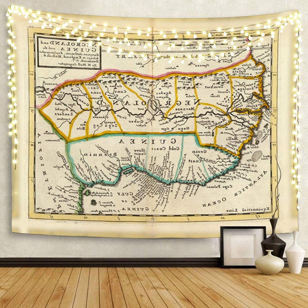 Famous Semtomn Tapestry Artwork Wall Hanging Africa Negroland And Guinea Westafrica Hand Col Engraved Map 50x60 Inches Home Decor Tapestries Mattress For Blended Fabric Trust In The Lord Tapestries And Wall Hangings (View 10 of 20)