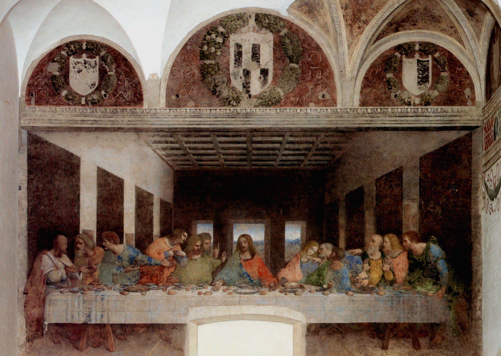 Fashionable Blended Fabric Leonardo Davinci The Last Supper Wall Hangings Inside Leonardo Da Vinci, Ultima Cena (il Cenacolo), 1493 (View 17 of 20)