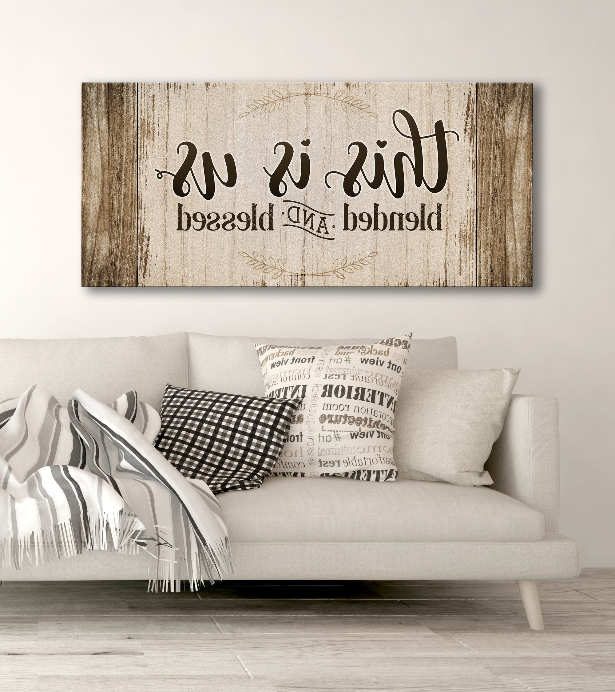 Fashionable Blended Fabric Salty But Sweet Wall Hangings Throughout Family Wall Art: This Is Us Blended And Blessed (wood Frame (View 9 of 20)