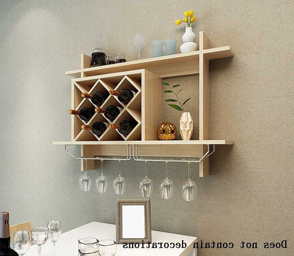 Fashionable Buy Alus Hanging Type Wood Based Panels Wine Wine Cabinet In Three Glass Holder Wall Décor (View 15 of 20)