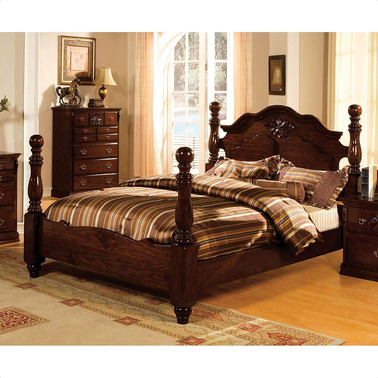 Fashionable Edyth Wood And Metal Wall Décor Intended For Amazon: Edyth Low Profile Four Poster Bed: Kitchen & Dining (View 16 of 20)