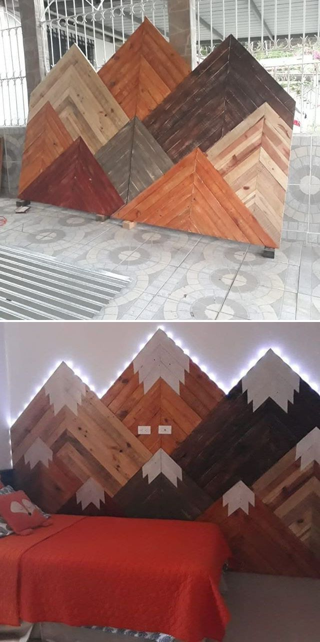 Fashionable Edyth Wood And Metal Wall Décor With Pallet Glowing Mountain Wall Art Ideas (View 6 of 20)