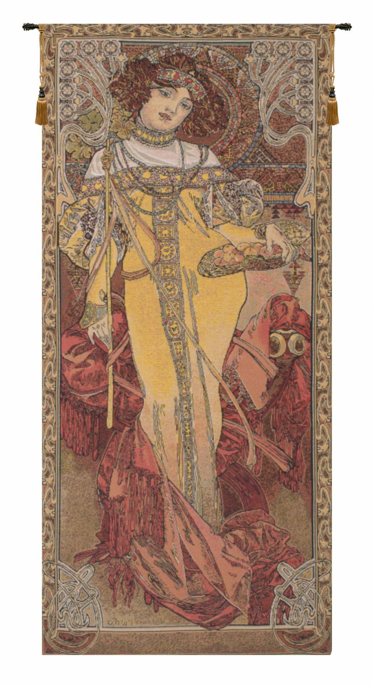 Featured Photo of Blended Fabric Mucha Autumn European Wall Hangings