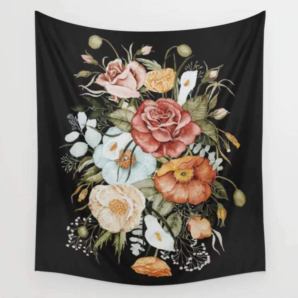 Fashionable Roses I Tapestries Regarding Amazon: Roses And Poppies Bouquet On Charcoal Black (View 9 of 20)