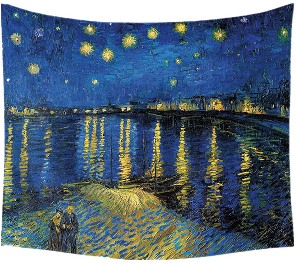 Fashionable Starry Night Tapestry Wall Hanging Classical Oil Painting Tapestry Vincent Van Gogh Bohemian Tapestries Home Decor For Bedroom, Dorm, Living Room For Blended Fabric Van Gogh Starry Night Over The Rhone Wall Hangings (View 3 of 20)