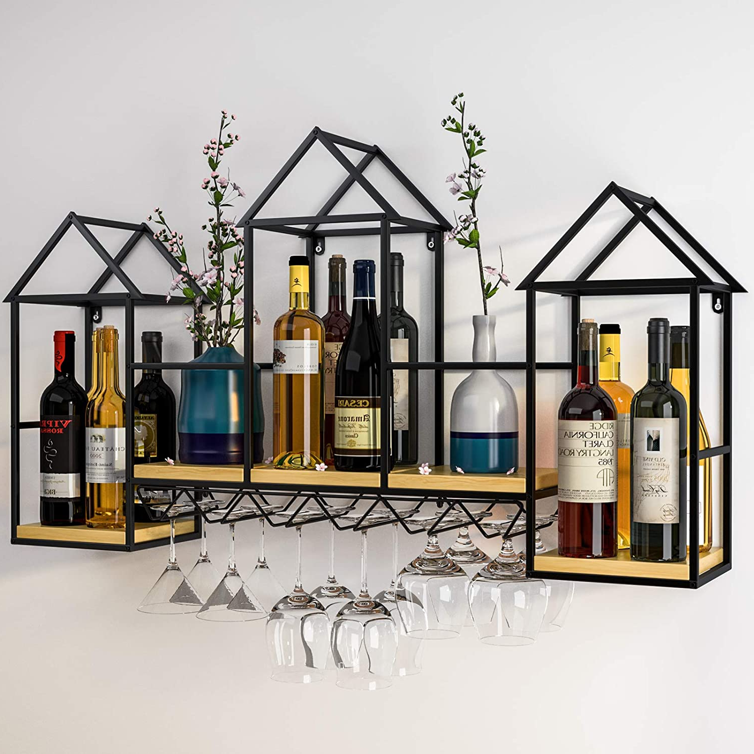 Fashionable Three Glass Holder Wall Décor Throughout Mecor Metal Wine Rack Wall Mounted With 6 Stem Glass Holder And 3 Shelves, (View 13 of 20)
