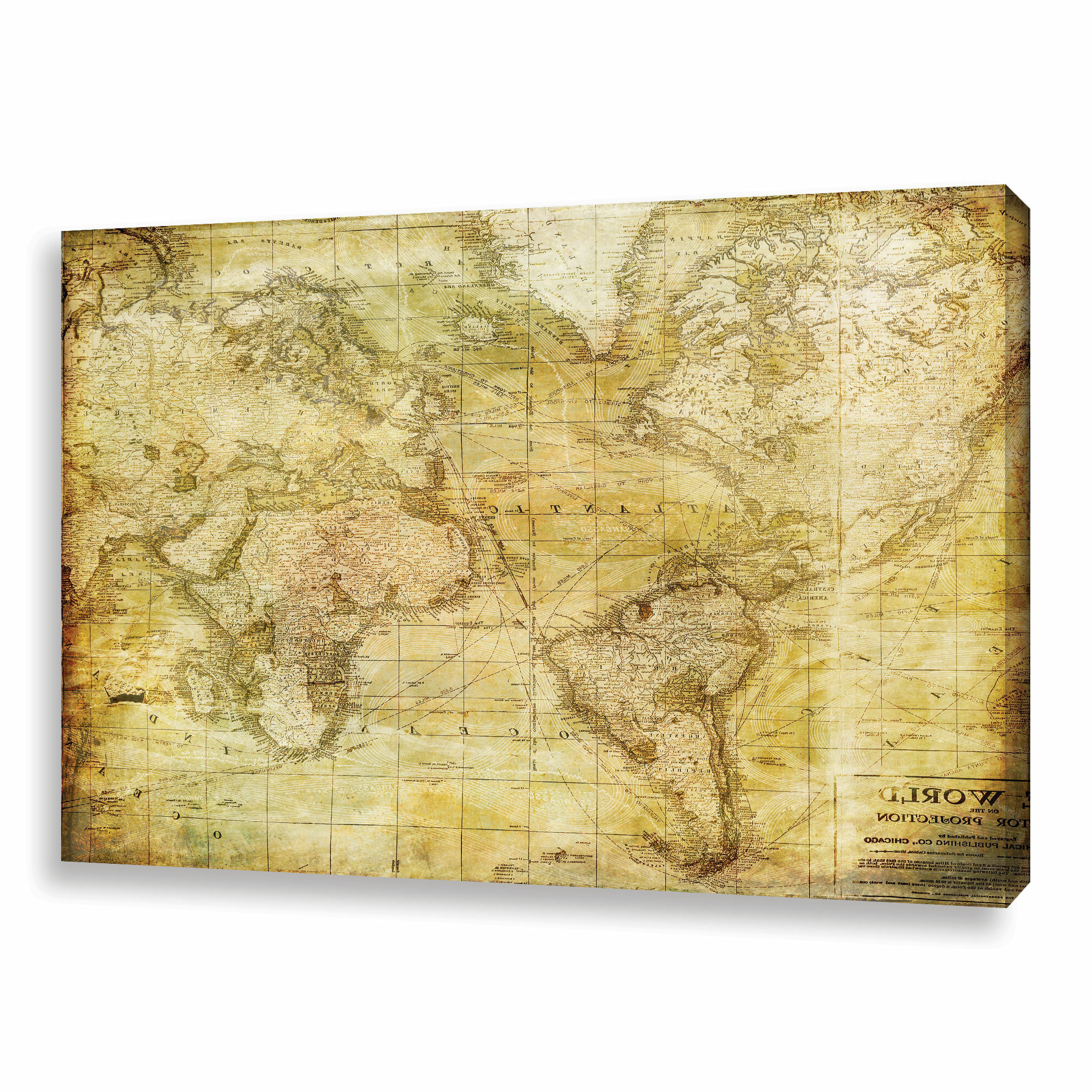 Fashionable Wall Mounted World Map Sculpture By Alcott Hill Regarding 'vintage Map' – Wrapped Canvas Graphic Art Print (View 2 of 20)