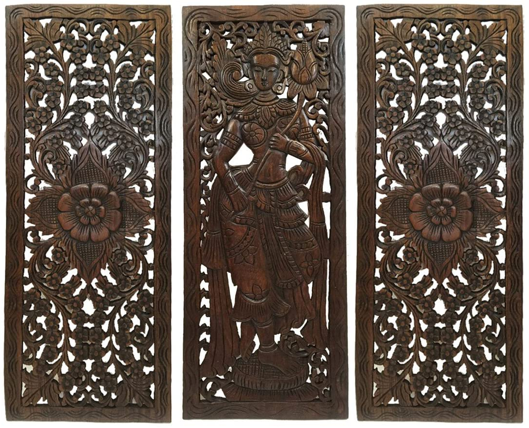 """Favorite Asian Traditional Figure Carved Wood Wall Decor Panels. Asian Home Decor In Dark Brown Finish 35.5""""x (View 9 of 20)"""