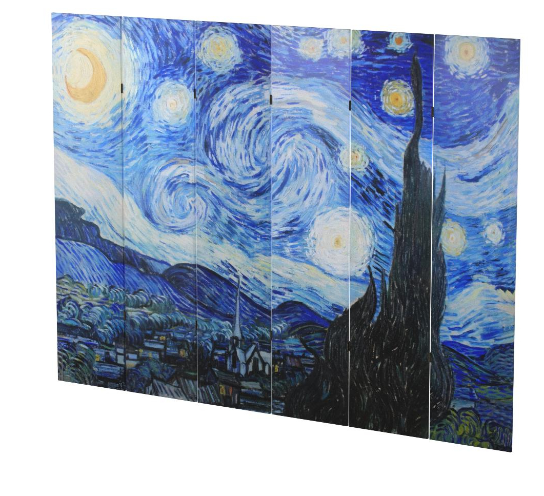 Favorite Blended Fabric Van Gogh Starry Night Over The Rhone Wall Hangings Inside 6 Panel Folding Screen Canvas Privacy Partition Divider Van Gogh's Starry Night (View 18 of 20)