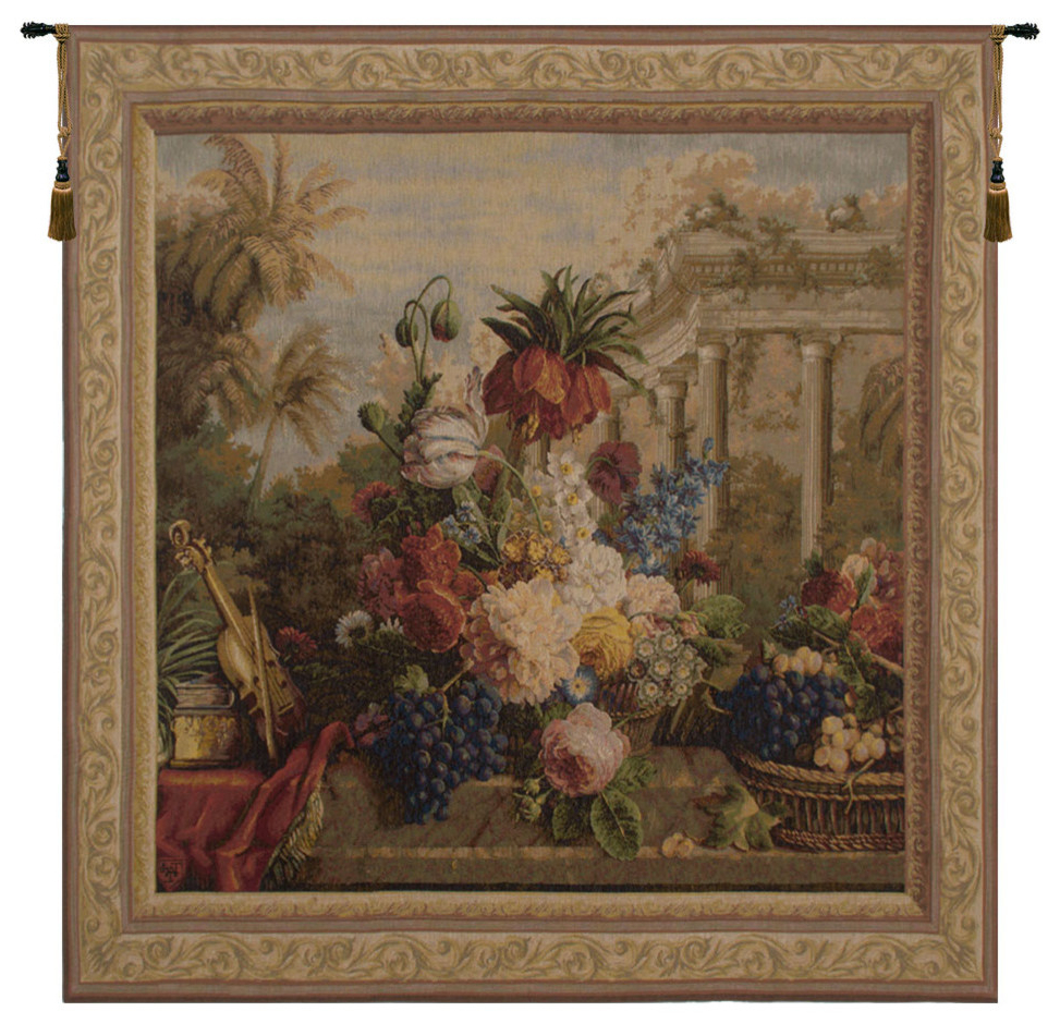 Favorite European Le Point Deau Flamant Rose Tapestries In Bouquet Exotique Ii European Tapestry Wall Hanging (View 3 of 20)