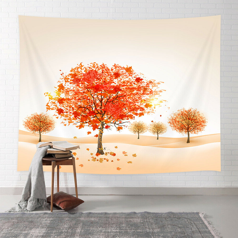 Favorite Fall Trees Decor Tapestry Artwork Of Autumn Maple Tree Leaves Wall Art Hanging Intended For Blended Fabric Living Life Bell Pull Wall Hangings (View 19 of 20)