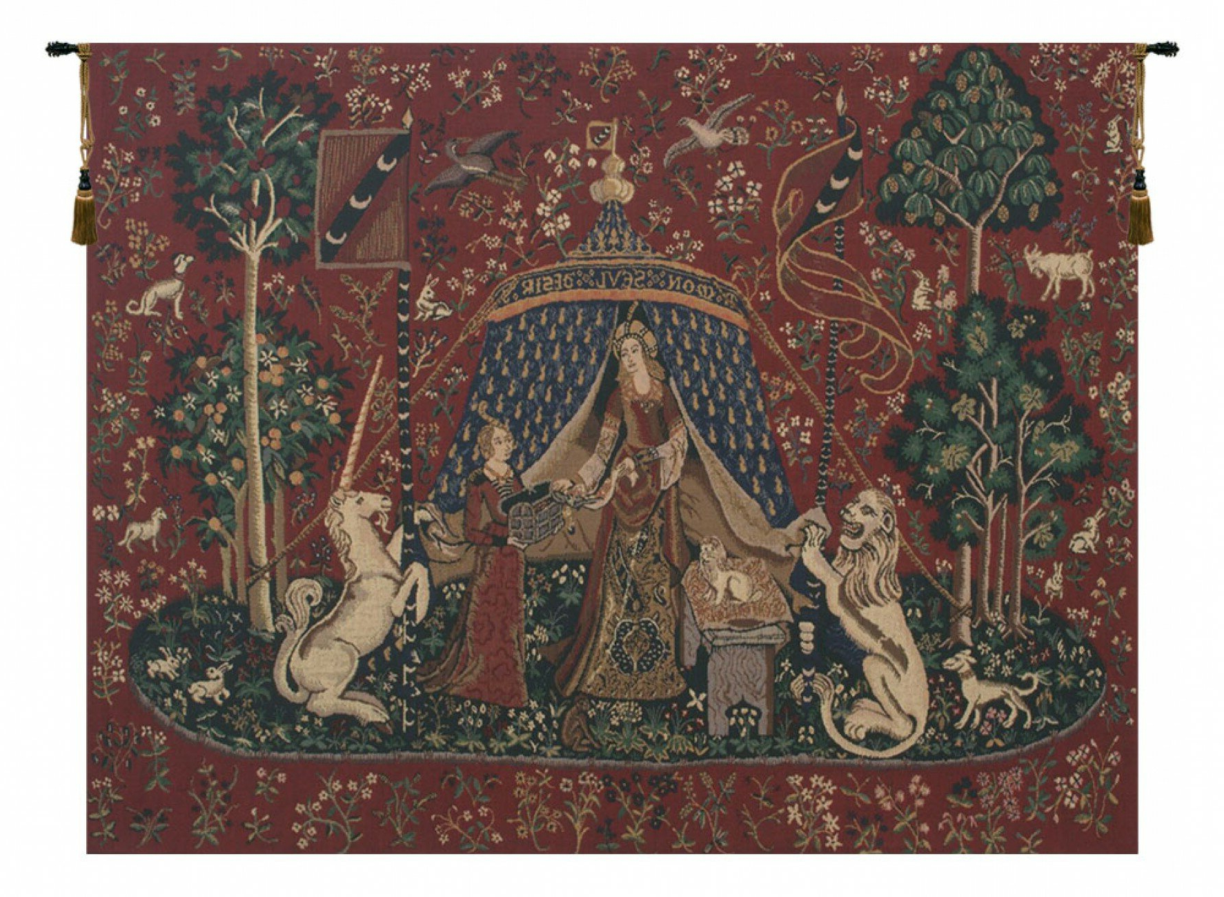 Favorite Lady And The Unicorn Wall Hanging With Blended Fabric Godfrey Of Bouillon Wall Hangings (View 7 of 20)