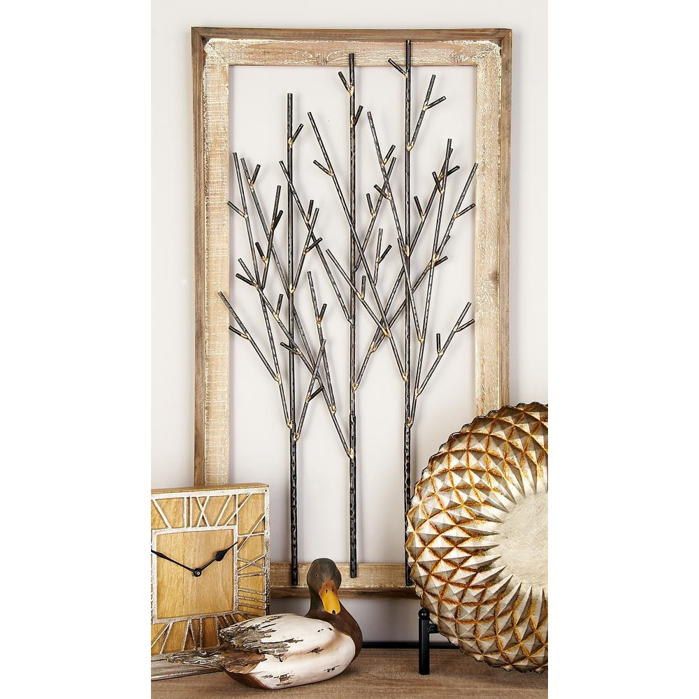 Favorite Litton Lane Iron And Wood Black Branches Framed Wall Decor 95294 – The Home Depot Within Tree Branch Wall Décor By Fleur De Lis Living (View 7 of 20)