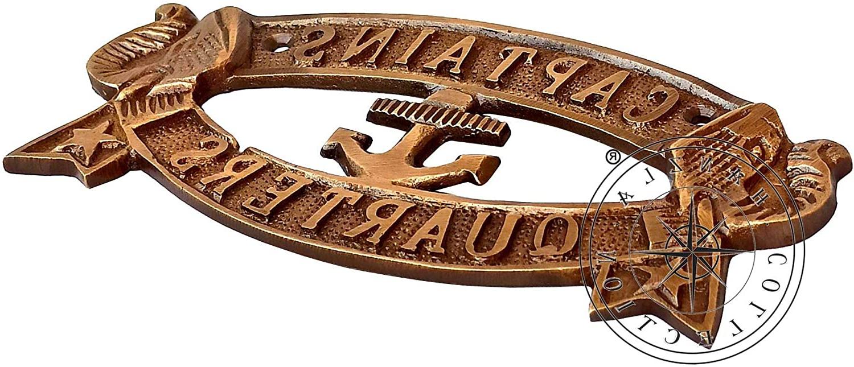 "Favorite Metal Captains Quarters Sign Wall Décor Inside Hanzla Collection Nautical Captain's Quarters Sign 7"" Antique Brass Wall Decoration Plaque (View 4 of 20)"