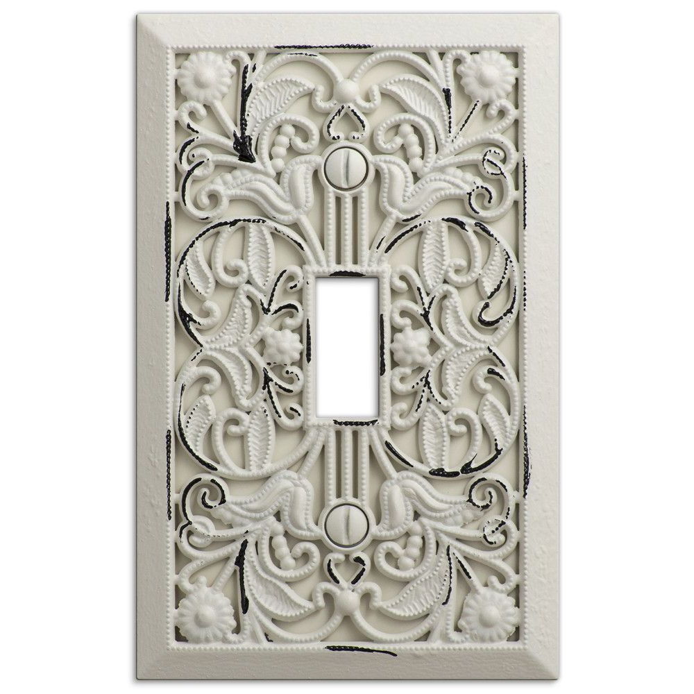 Filigree Antique White Cast – 1 Toggle Wallplate (View 4 of 20)