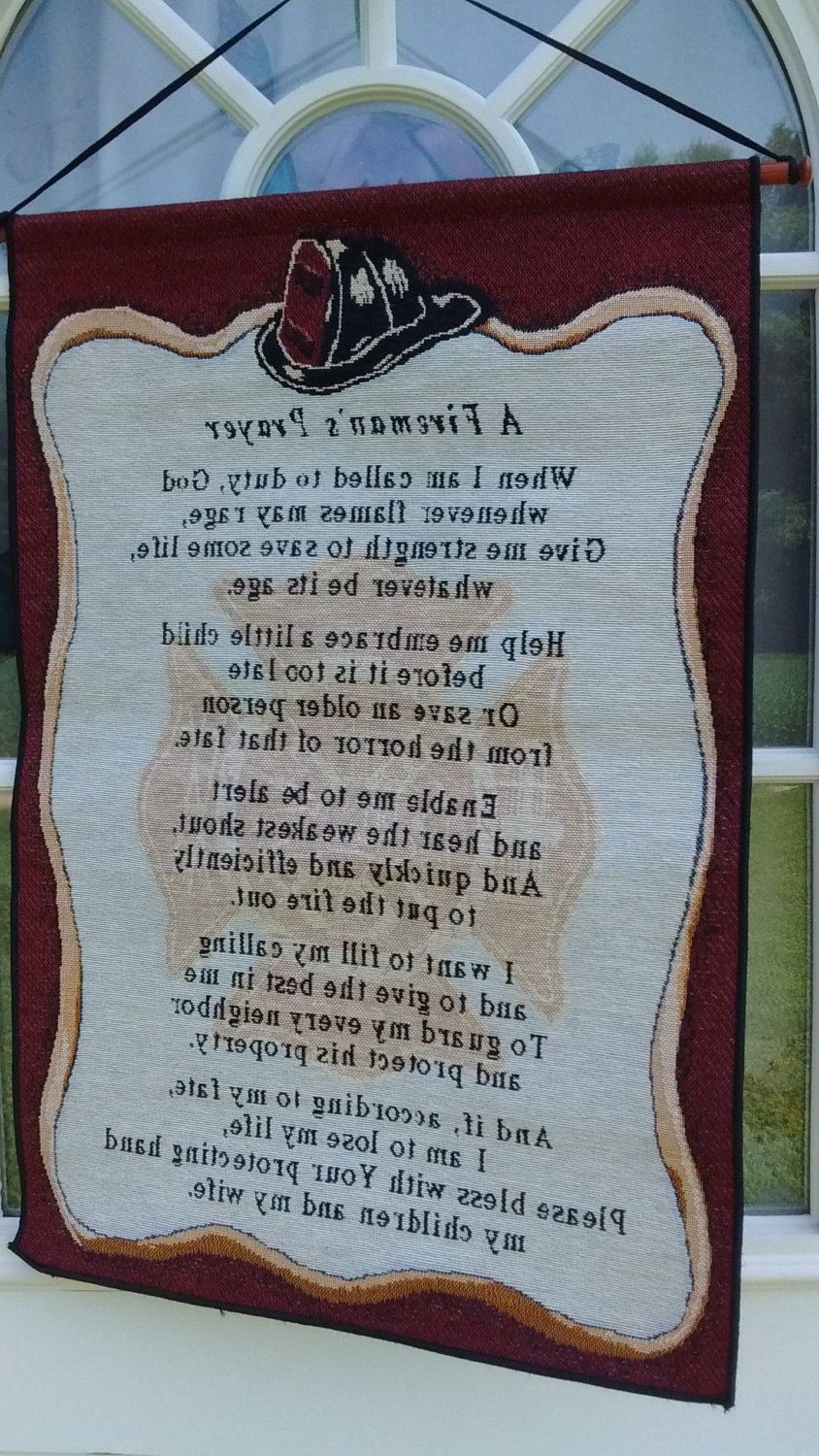 """Fireman's Prayer Woven Tapestry Wall Hanging """"please Bless For Most Popular A Fireman Prayer Wall Hangings (View 14 of 20)"""