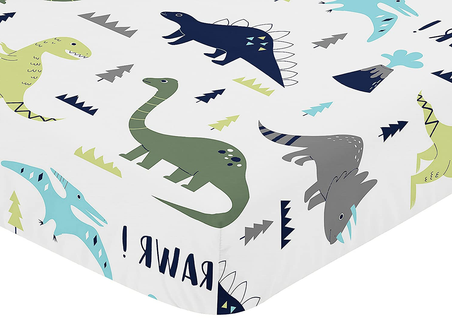 Fitted Crib Sheet For Blue And Green Modern Dinosaur Baby/toddler Bedding Set Collection – Dinosaur Print In Newest Blended Fabric Mod Dinosaur 3 Piece Wall Hangings Set (View 20 of 20)