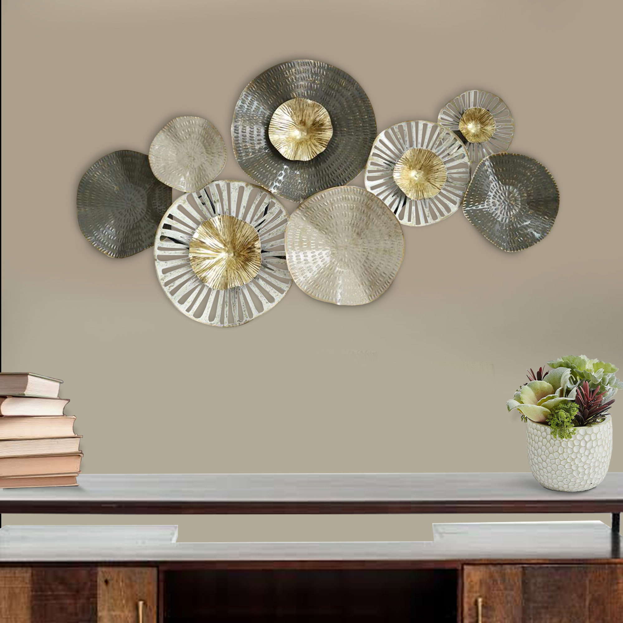 Floral Plate Wall Décor By World Menagerie For Most Popular Floral Metal Wall Décor (View 10 of 20)
