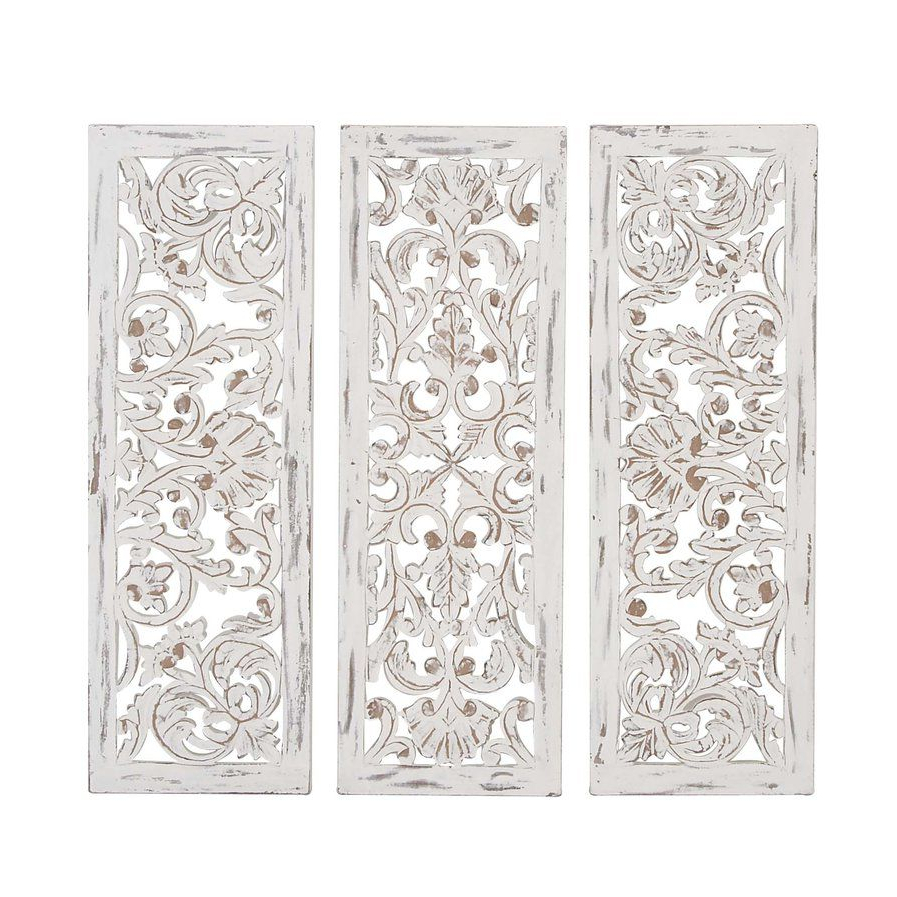 Flower For 3 Piece Carved Ornate Wall Décor Set (View 4 of 20)