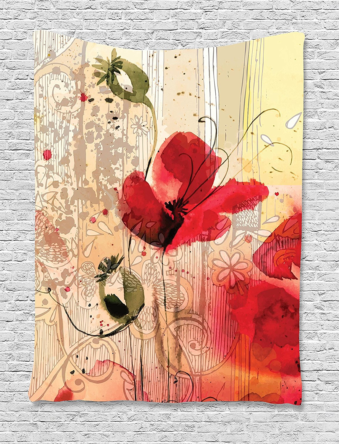 Flower Tapestry Decor, Red Poppy Flower Beige Floral Watercolor Design Digital Art Print Spring Plants, Wall Hanging For Bedroom Living. (View 13 of 20)