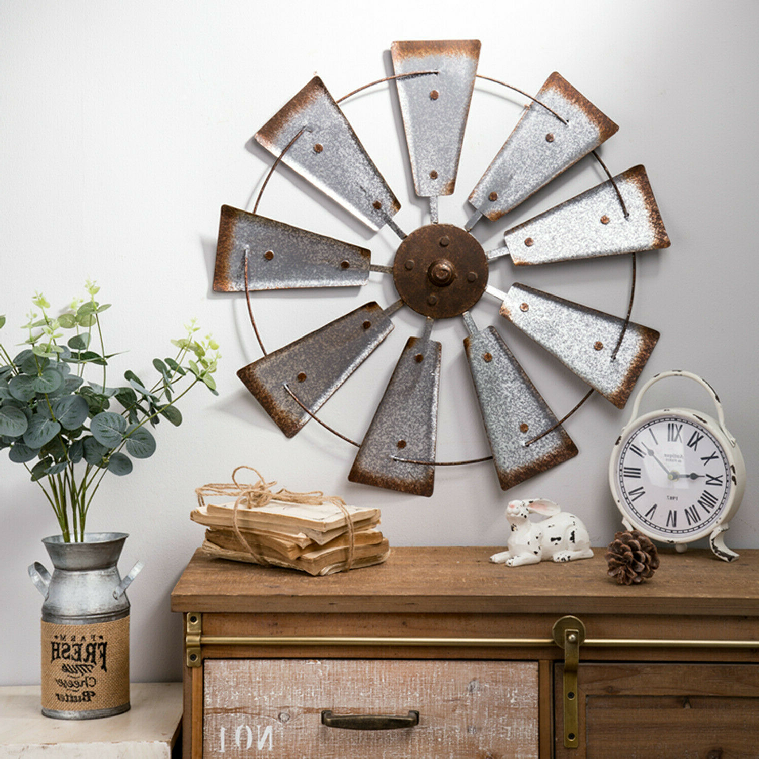 """Glitzhome 22"""" Farmhouse Metal Galvanized Windmill Spinner Rustic Home Wall Décor Within Popular Wall Décor By Brayden Studio (View 15 of 20)"""