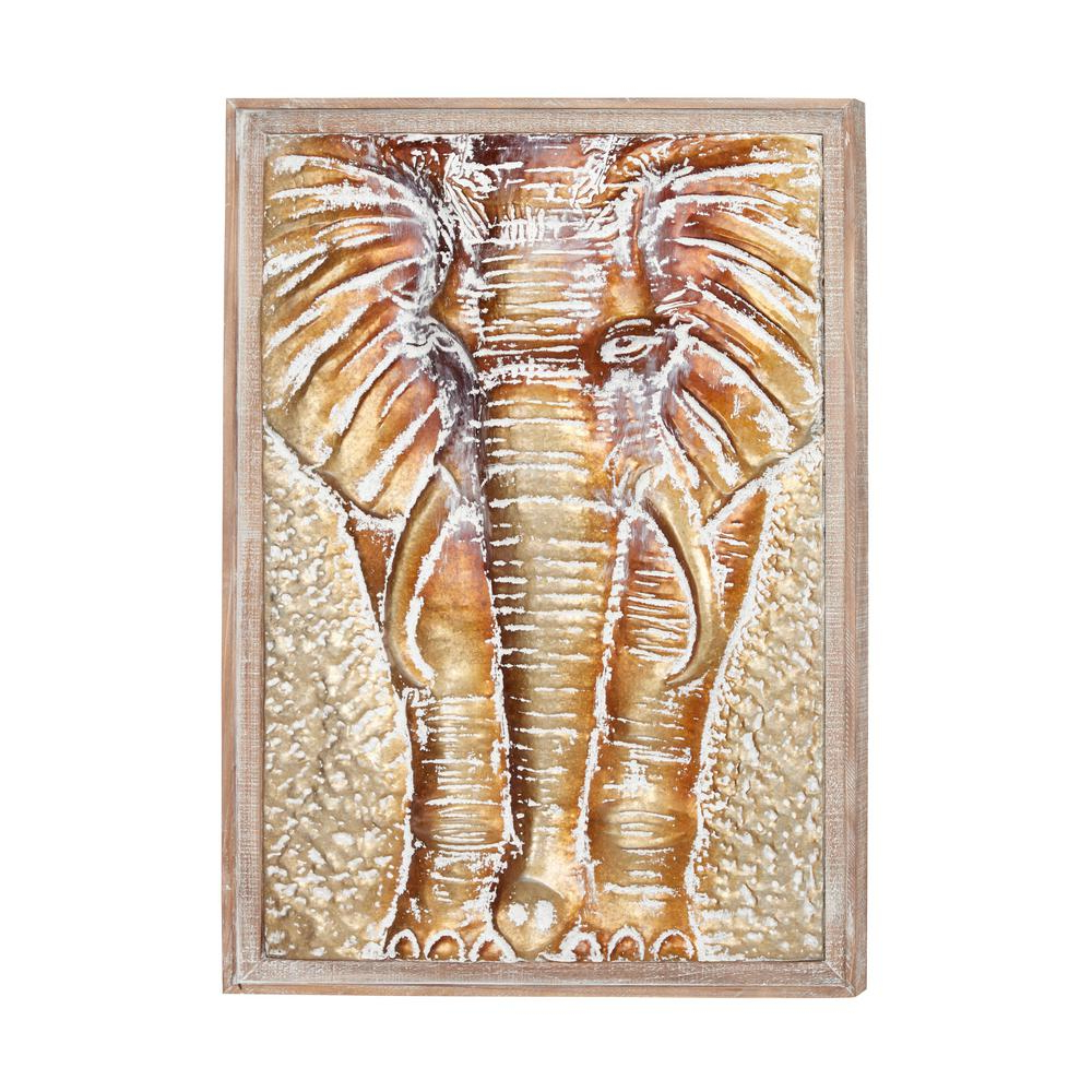 Gold Elephants Sculpture Wall Décor For Current Litton Lane Rectangular Framed Wood And Metal Bronze And Gold Elephant Wall Decor 18982 – The Home Depot (View 10 of 20)