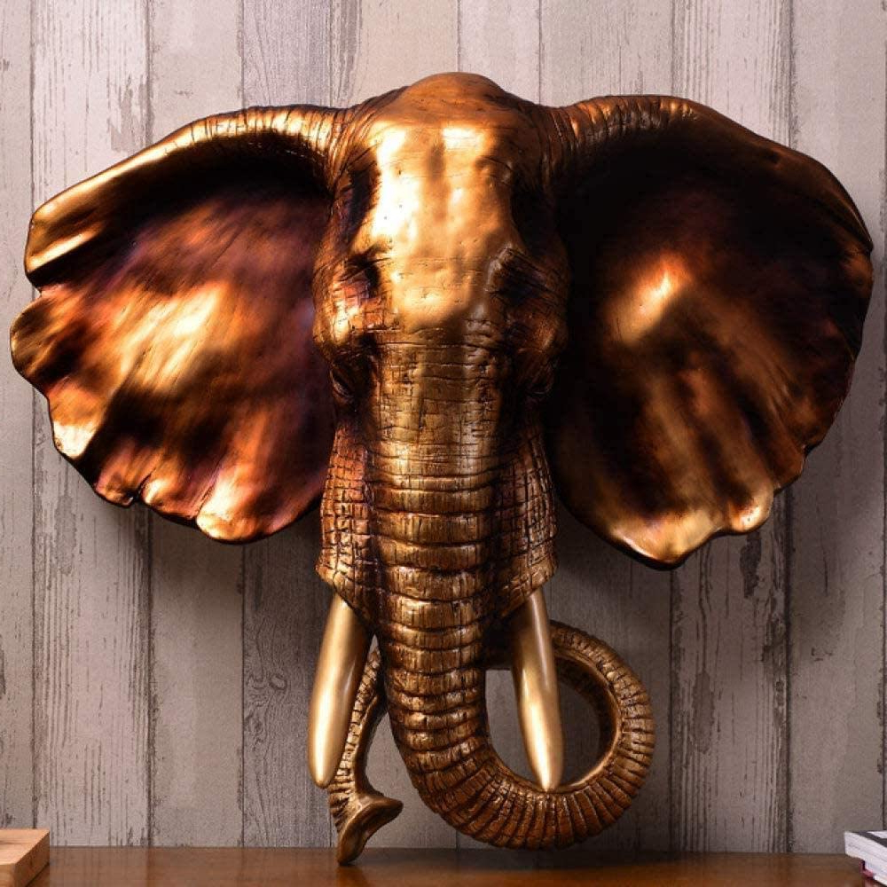 Gold Elephants Sculpture Wall Décor In Trendy Amazon: Sculpture Auspicious Elephant Wall Hanging Wall (View 7 of 20)