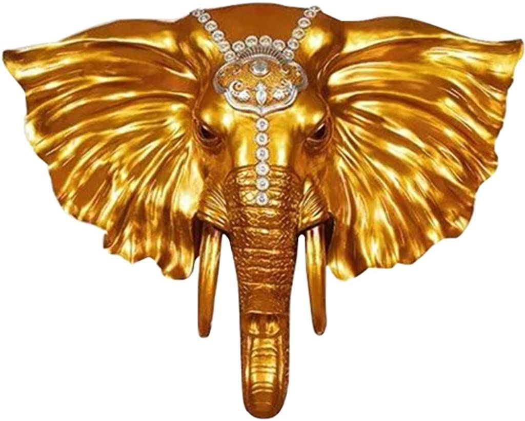 Gold Elephants Sculpture Wall Décor Inside 2020 Amazon: Head Sculptures European Style Living Room (View 8 of 20)
