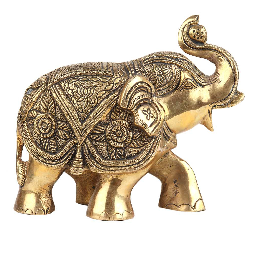 Gold Elephants Sculpture Wall Décor Regarding Recent Brass Trunk Up Elephant Statue For Home Decoration (View 14 of 20)
