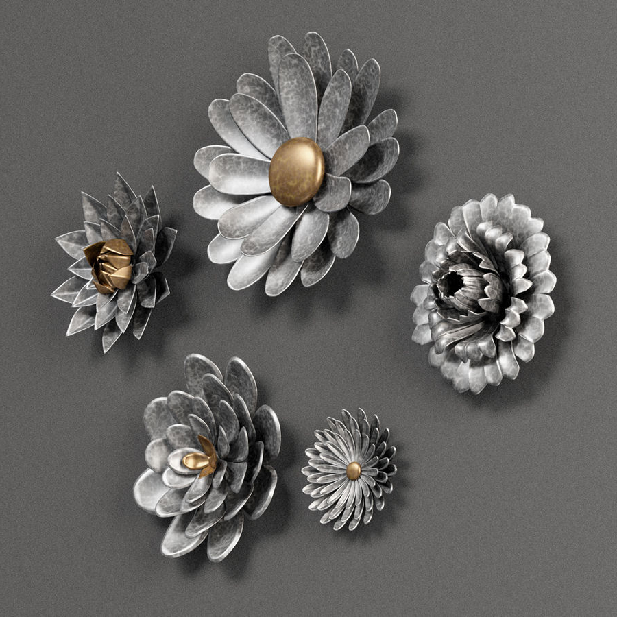 Gray 5 Piece Galvanized Metal Flower Hanging Wall Decor Set Throughout Most Recent 3 Piece Metal Flower Wall Décor Set (View 19 of 20)