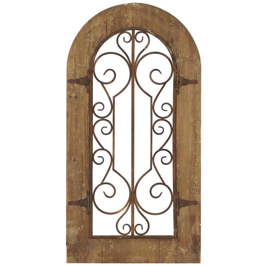 """Grayson Lane Large Rustic Style Iron And Wood Wall Decor Antique Metal Gate Wall Decor In Arched Wood Frame Decorative Wood And Metal Wall Panel 20"""" X With Regard To Favorite Antique Iron Alloy Wall Décor (View 15 of 20)"""