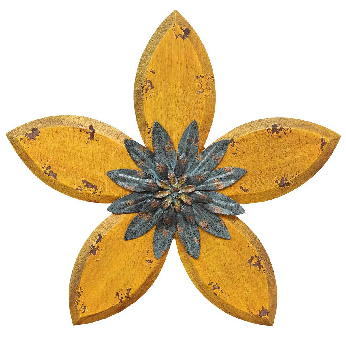 Hand Painted Distressed Flower Wall Decor – Yellow With Regard To Most Up To Date Rings Wall Décor By Stratton Home Decor (View 20 of 20)
