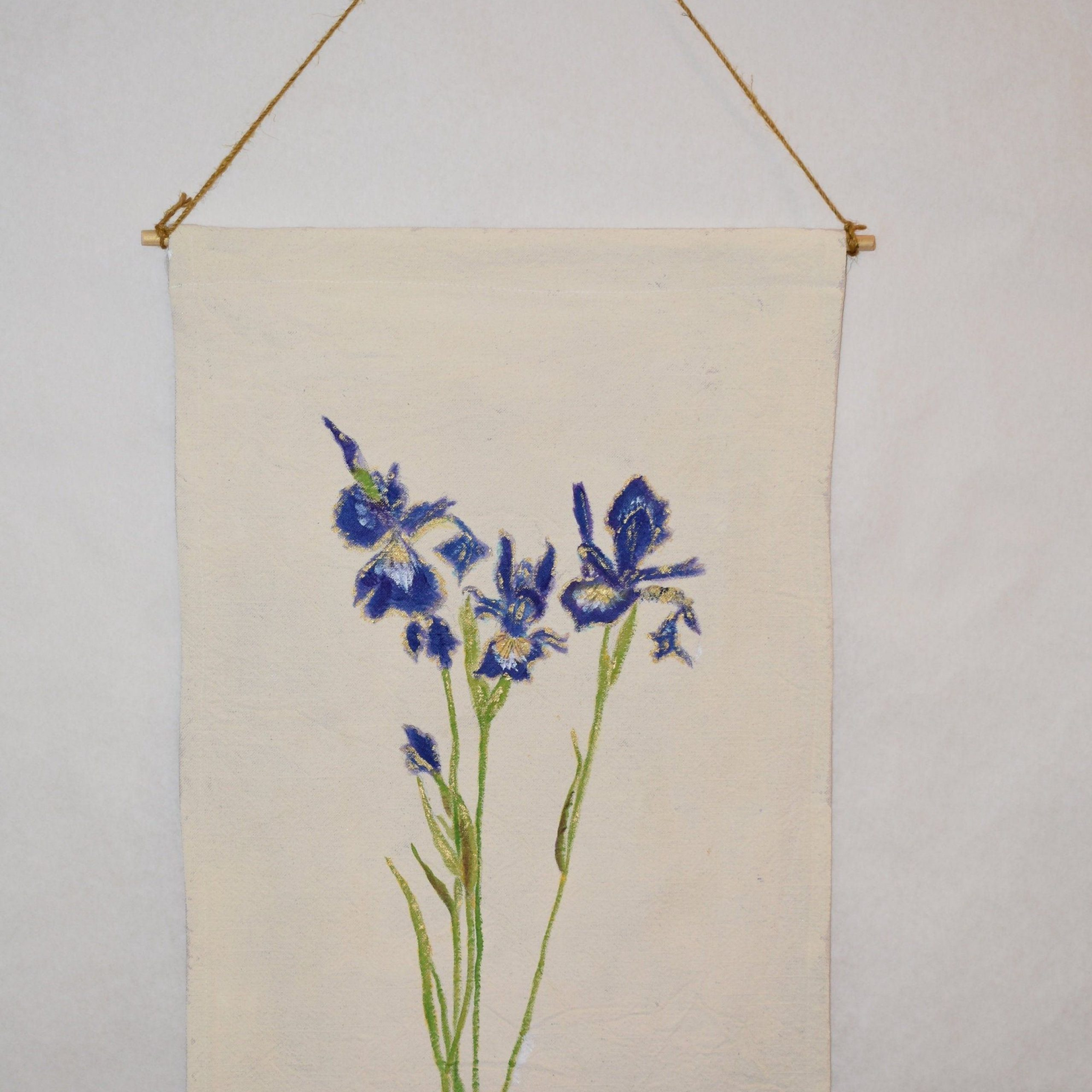 Hand Painted, Tapestry Intended For Most Current Blended Fabric Irises Tapestries (View 2 of 20)