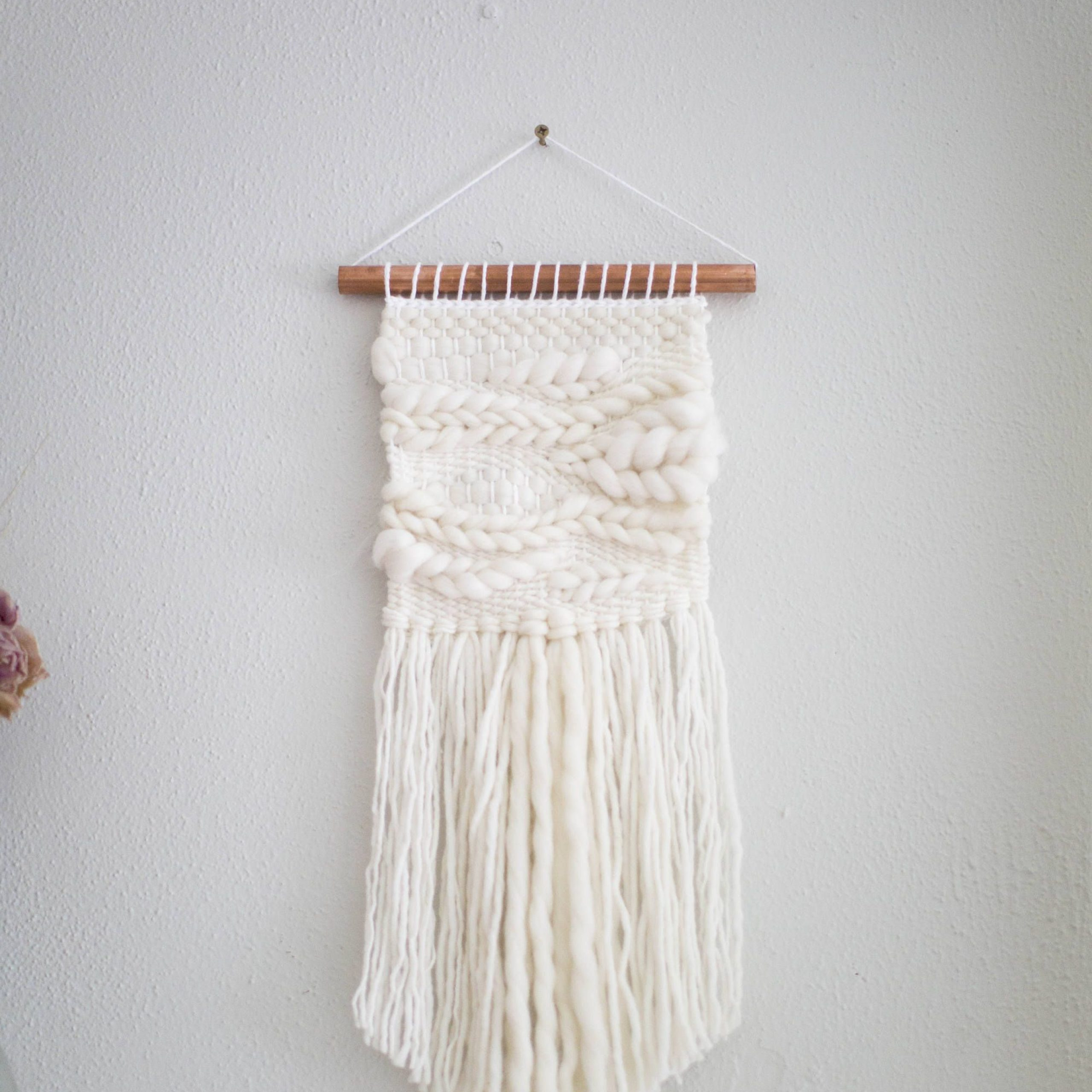 Hand Woven Wall Hangings Inside Recent White Wall Hanging \\ Weave \\ Mto \\ Woven Wall Hanging (View 11 of 20)