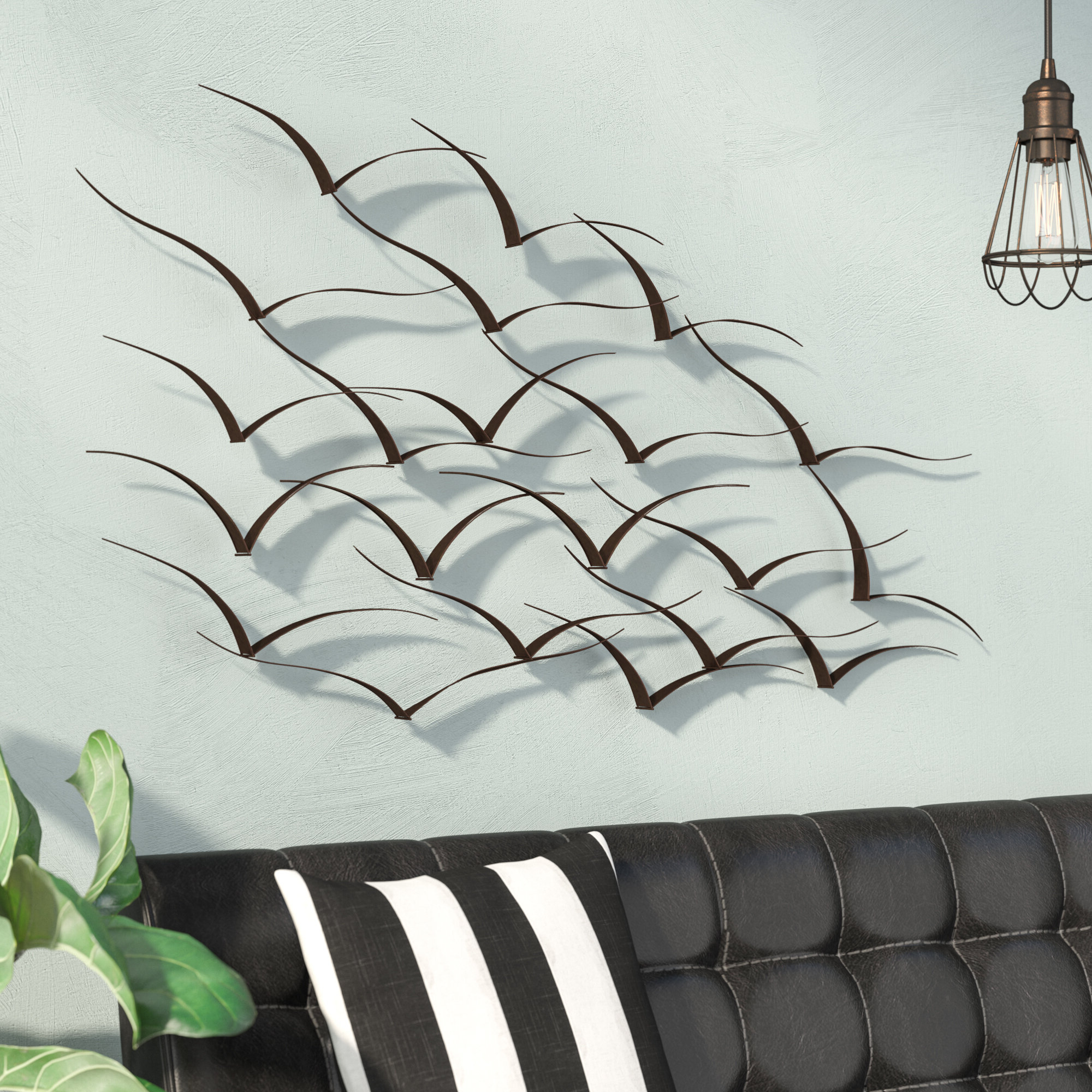 Handcrafted Flock Of Birds Metal Art Wall Décor With Regard To Famous Metal Birds Wall Décor By Beachcrest Home (View 8 of 20)