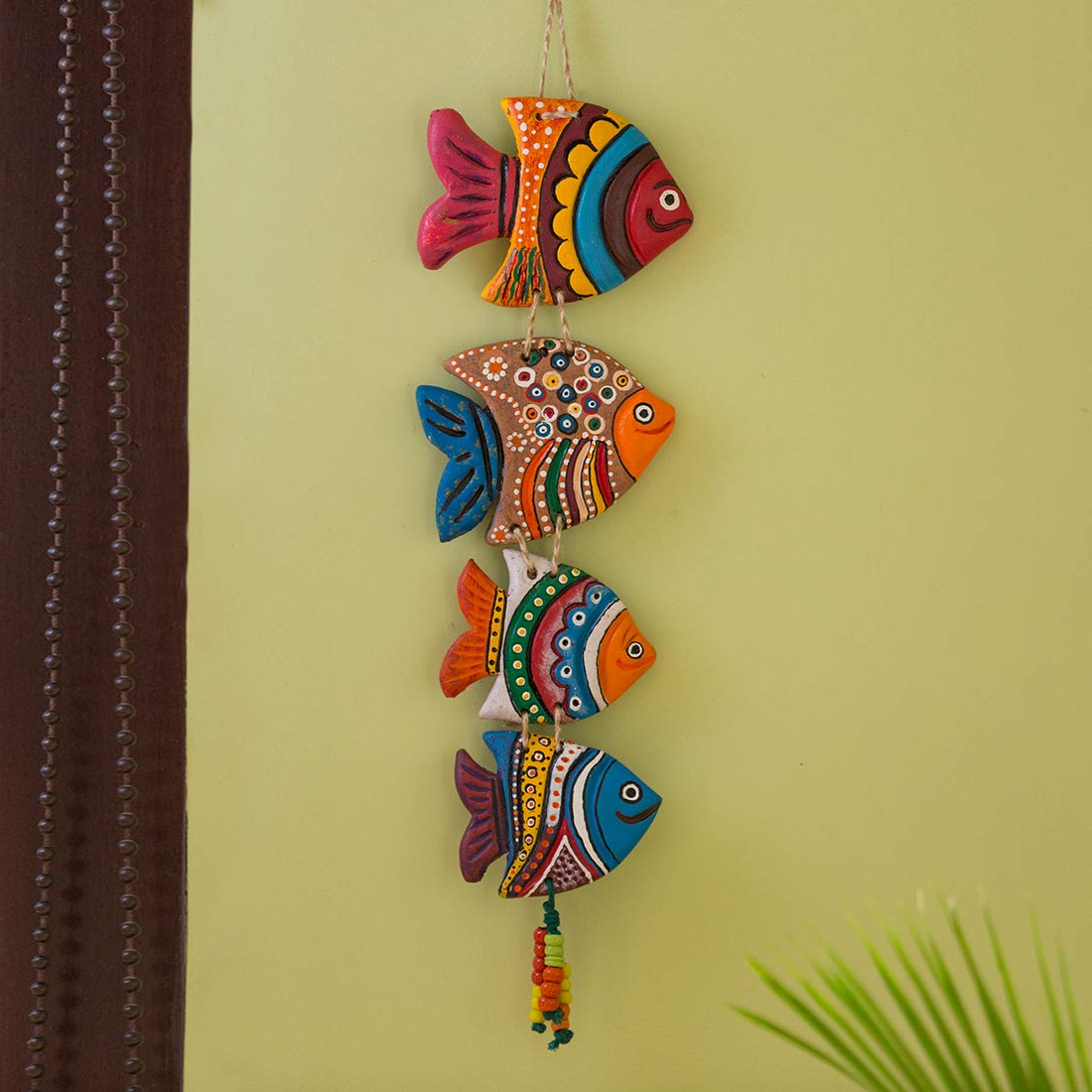 Handcrafted Hanging Fish In Net Wall Décor For Trendy Exclusivelane Fish Handmade And Hand Painted Garden Decorative Wall Hanging In Terracotta – Balcony Decoration Hanging Decorative Items For Living (View 13 of 20)