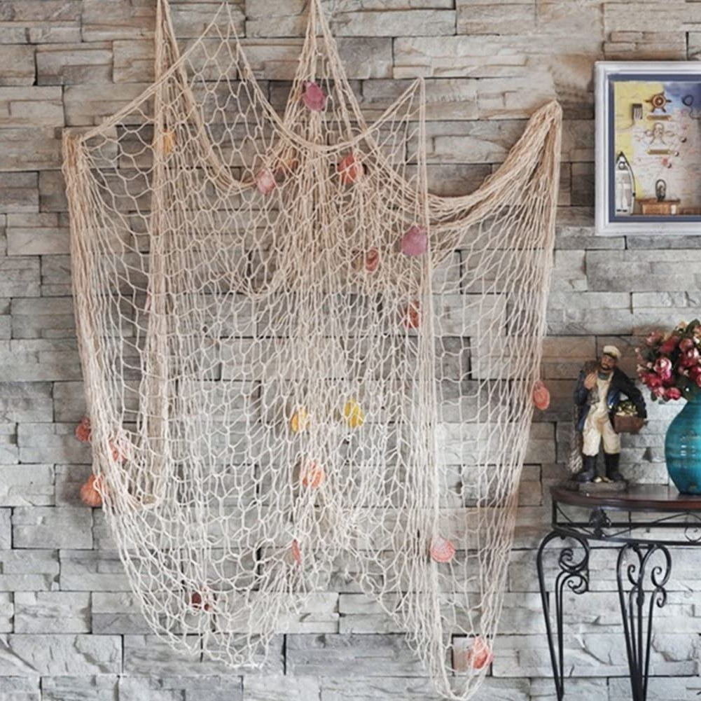 Handcrafted Hanging Fish In Net Wall Décor Inside Recent Decorative Fishing Net – Mediterranean Style Bar Wall Hanging With Sea Shells – Beach Theme Decor, Wedding Birthday Party Home Living Room Bedroom (View 8 of 20)