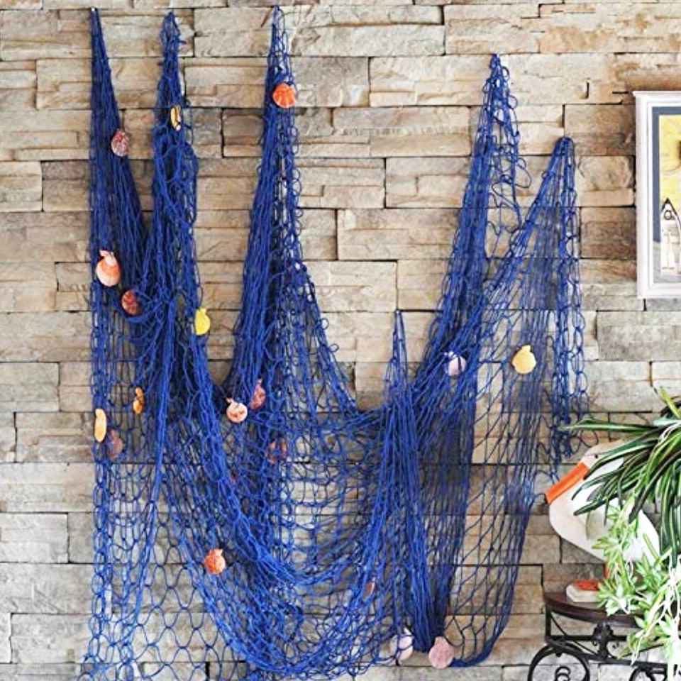Handcrafted Hanging Fish In Net Wall Décor Intended For Recent Mediterranean Handmade Nautical Hanging Cotton Thread Fish (View 15 of 20)