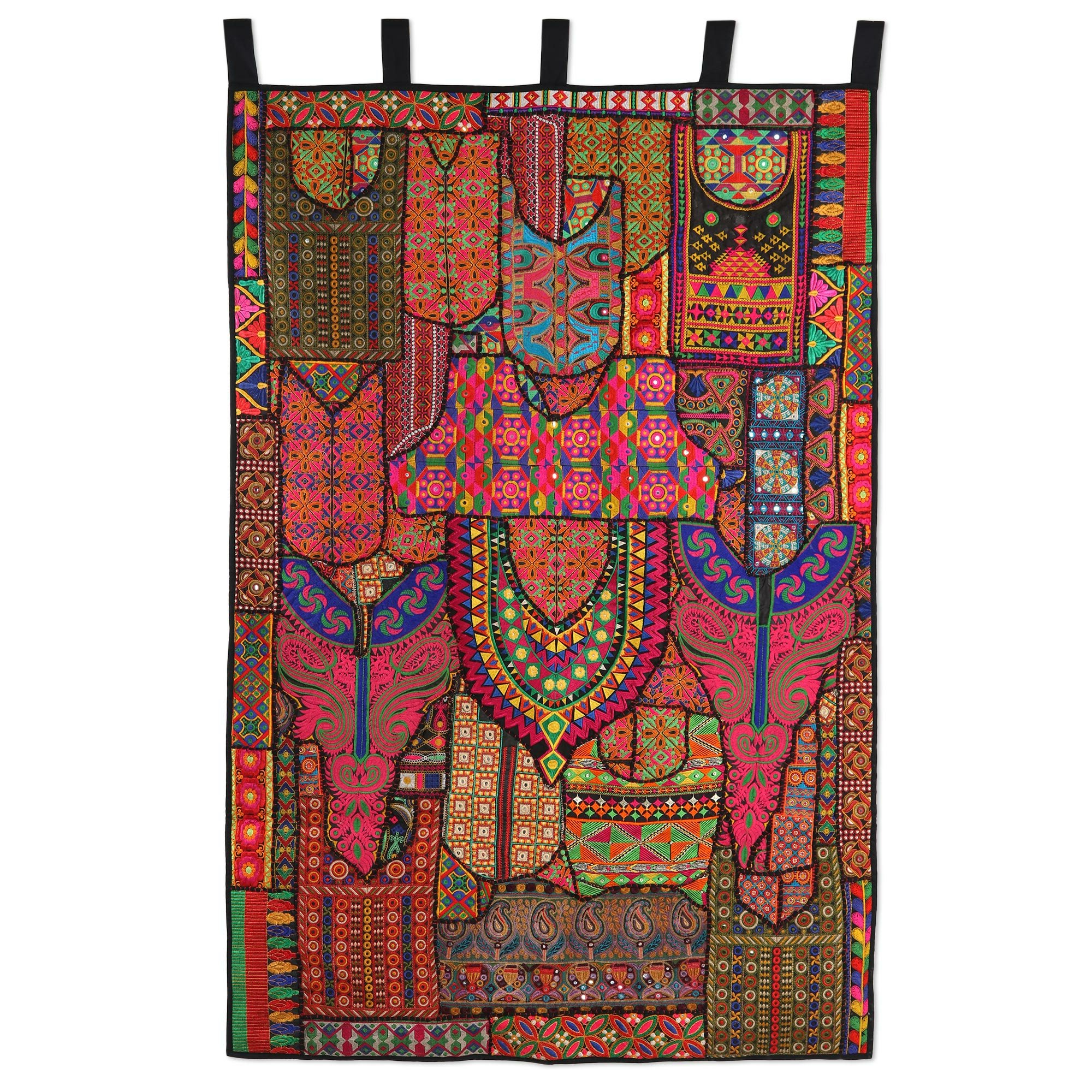 Handmade Indian Flavor Recycled Cotton Blend Patchwork Wall Hanging For Fashionable Blended Fabric Ranier Wall Hangings With Hanging Accessories Included (View 11 of 20)