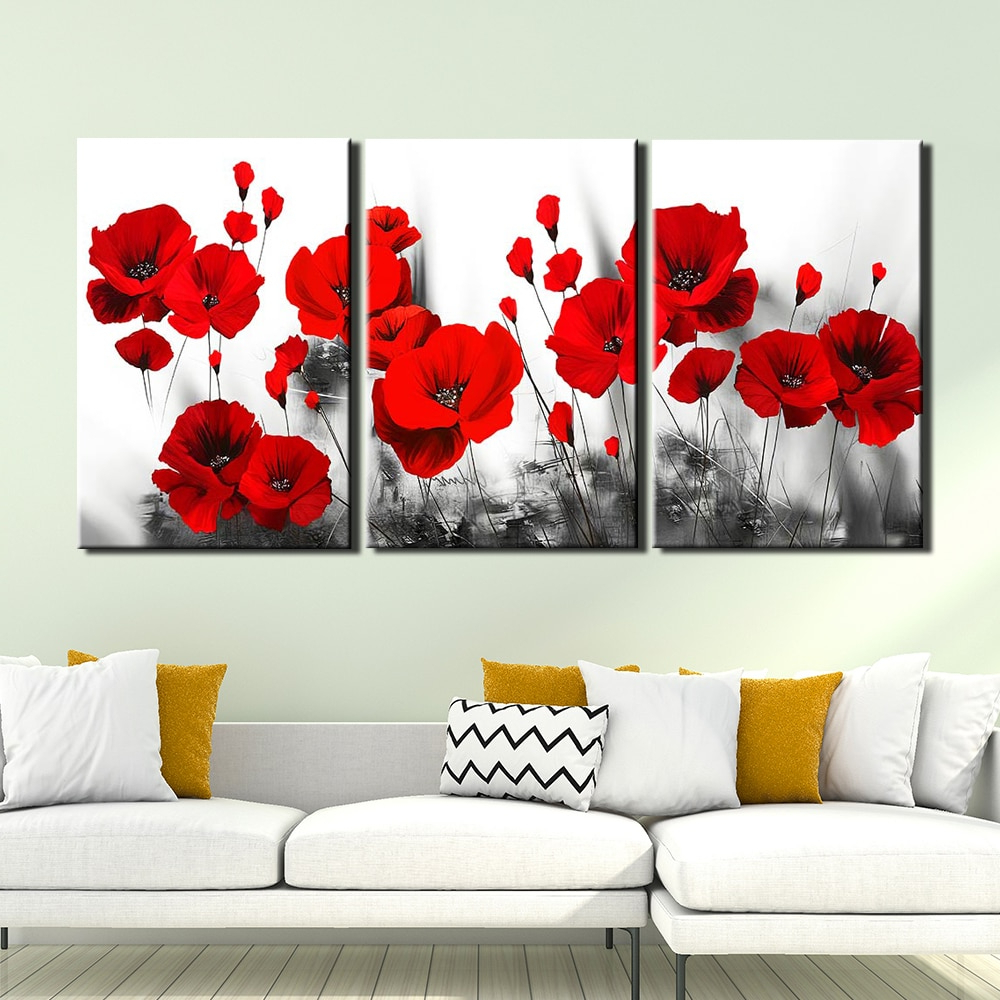 Hd Canvas Print Red Poppy Flowers Painting Picture Poster Intended For Recent Blended Fabric Poppy Red Wall Hangings (View 18 of 20)