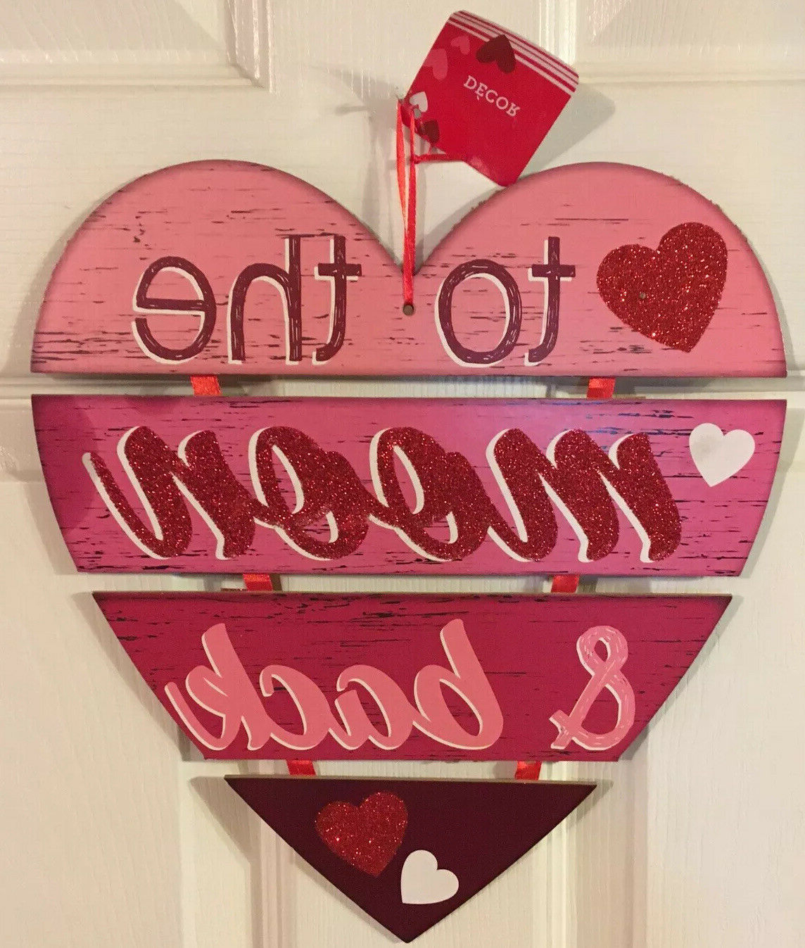 """Heart Shaped """"home"""" Sign Wall Décor Intended For Most Recent Valentine's Day To The Moon And Back Home Wall Door Decor Hanging Glitter Sign (View 15 of 20)"""