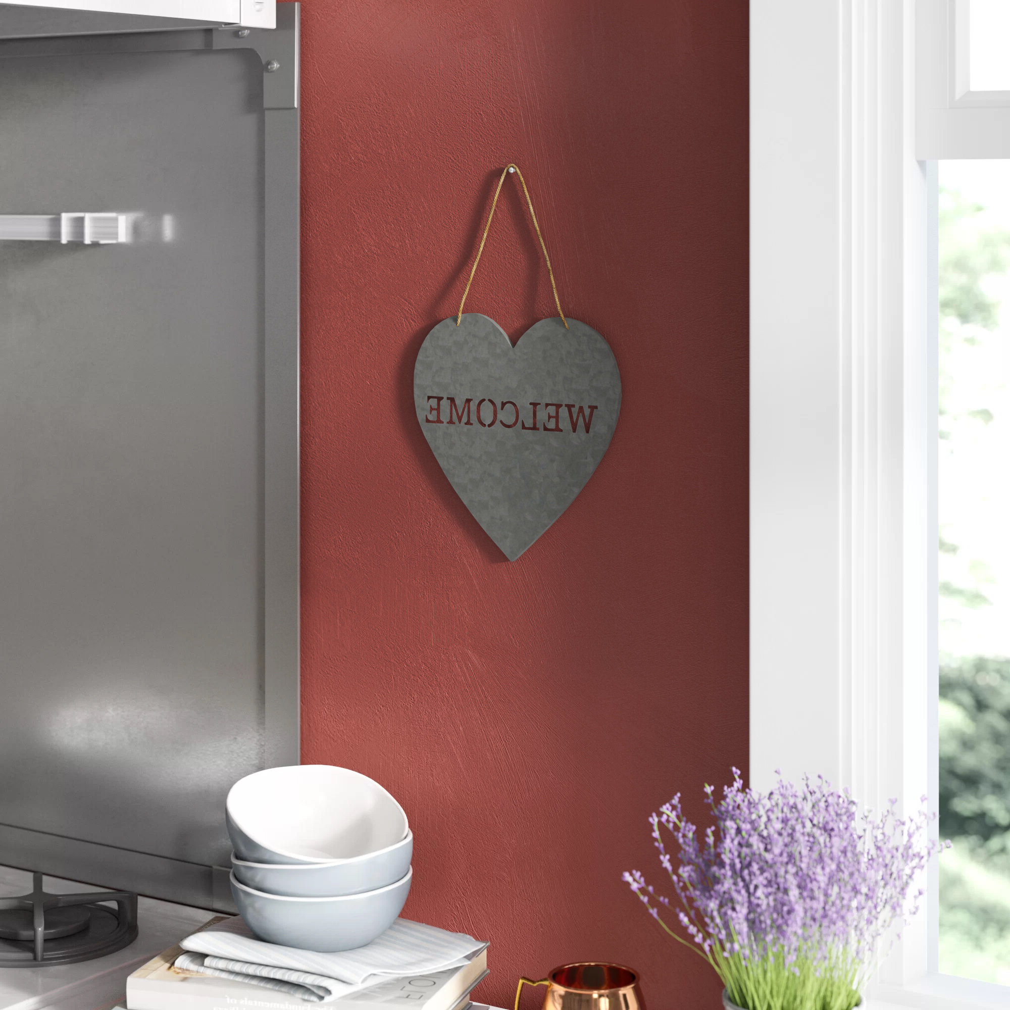 """Heart Shaped """"welcome"""" Sign Wall Décor Regarding Best And Newest Heart Shaped """"home"""" Sign Wall Décor (View 2 of 20)"""