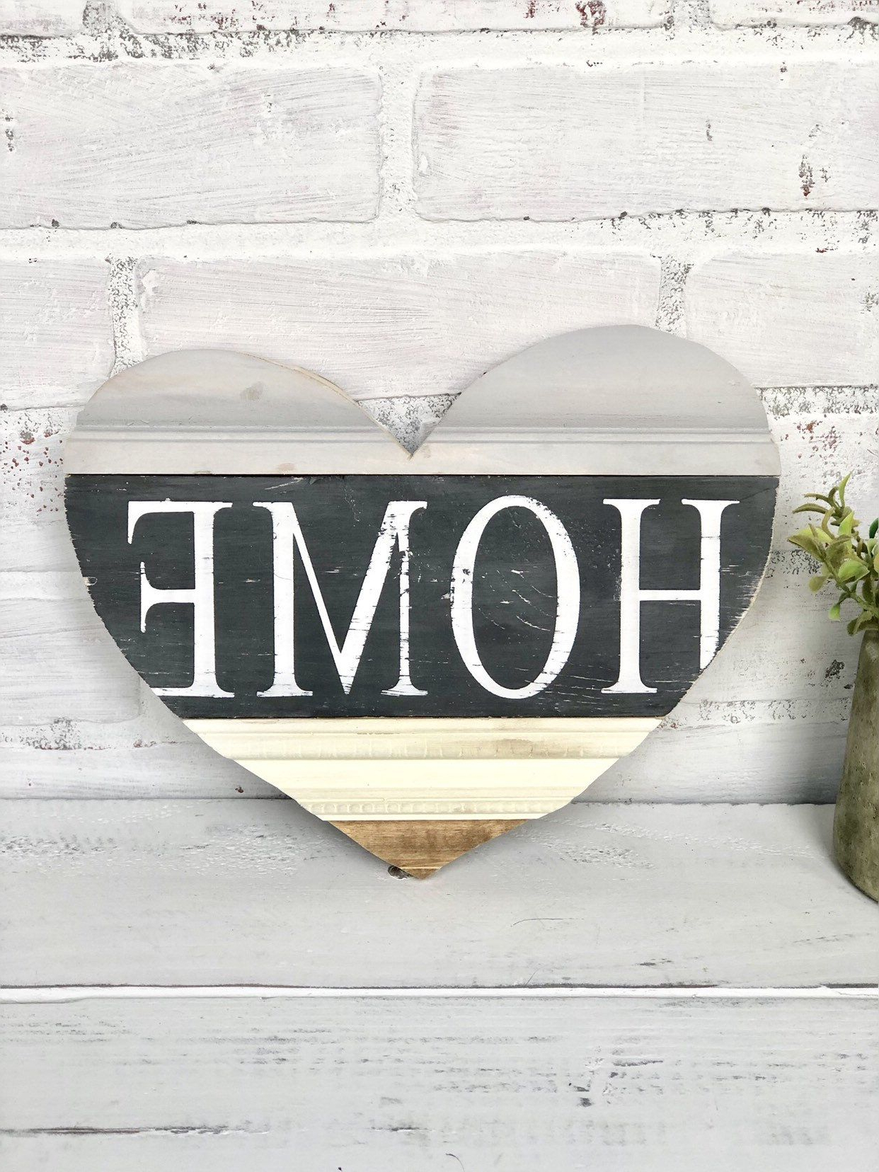 """Home Wood Sign / Heart Shaped Sign / Home Decor / Wood Signs Inside Most Recent Heart Shaped """"home"""" Sign Wall Décor (View 4 of 20)"""